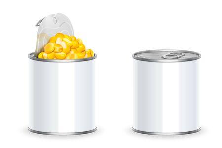 Lata de maíz dulce orgánico en 3d ilustración sobre fondo blanco.