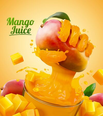 Mango juice ads with liquid hand grabbing fruit effect from glass cup in 3d illustration