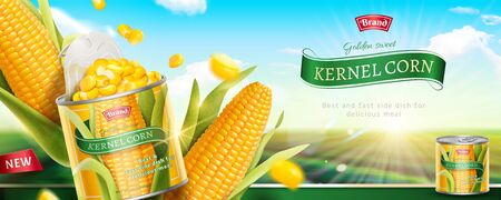 Premium kernel corn can banner ads in 3d illustration on bokeh green field background Illustration