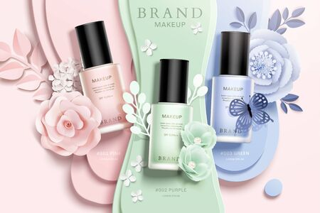 Colorful nail lacquer ads with paper flowers and liquid background in 3d illustration