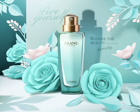 Elegant perfume ads with paper light blue roses decorations in 3d illustration