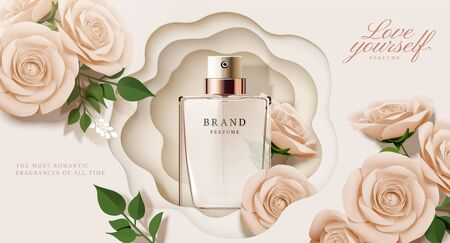 Elegant perfume ads with paper beige roses decorations in 3d illustration Çizim