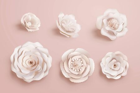 Paper camellia flowers collection in 3d illustration