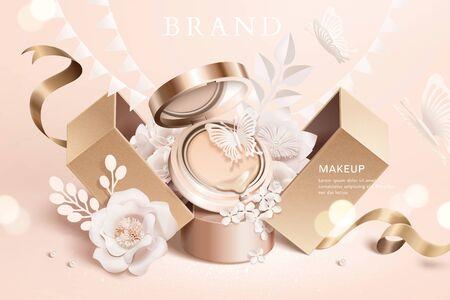 Anuncios de cojines de base con flores de papel y caja de regalo en ilustración 3d