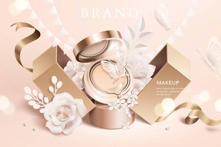 Foundation cushion ads with paper flowers and gift box in 3d illustration