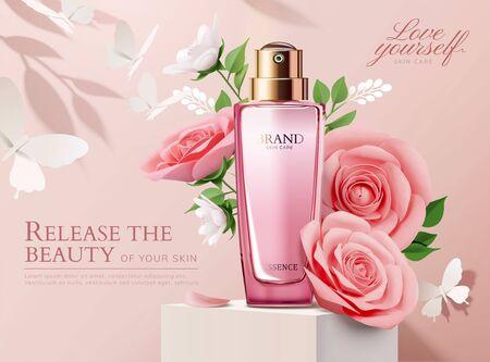 Annonces de parfum élégantes avec des décorations de roses rose clair en papier en illustration 3d