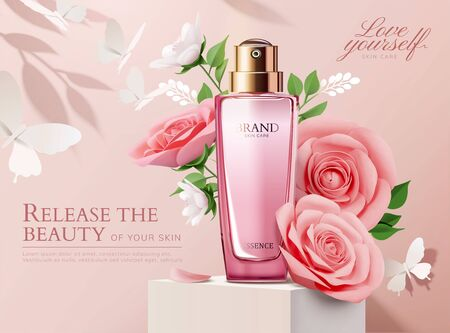 Elegant perfume ads with paper light pink roses decorations in 3d illustration Foto de archivo - 127310972