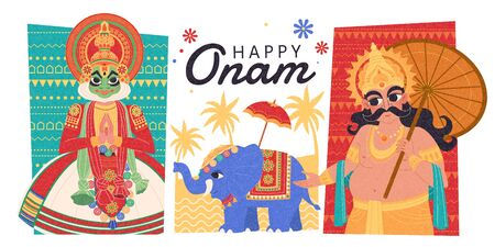 Happy Onam flat design with Mahabali, Kathakali dancer and elephant procession Иллюстрация