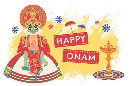 Happy Onam Kerala Kathakali dancer in flat design Illustration