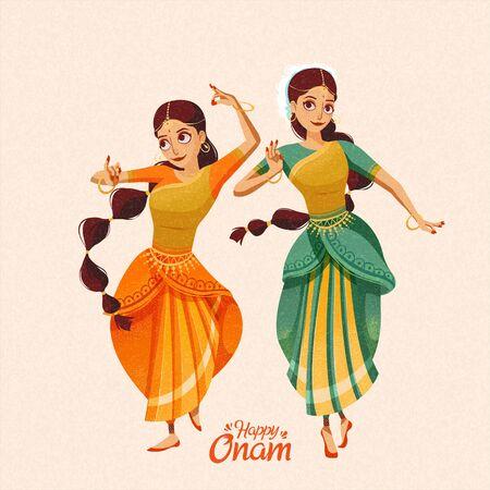Happy Onam two beautiful dancers wearing sari