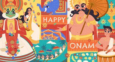 Happy Onam flat design with Mahabali and Kathakali dancer characters