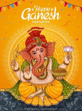 Conception d'affiche Happy Ganesh Chaturthi sur fond jaune