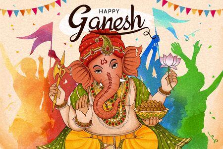Conception heureuse de Ganesh Chaturthi avec des personnes dansant ensemble dans un ton coloré