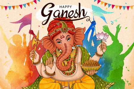 Happy Ganesh Chaturthi design with people dancing together in colorful tone