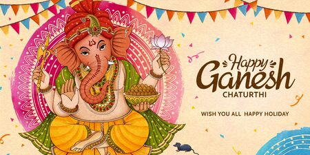 Happy Ganesh Chaturthi celebration banner design with party flags