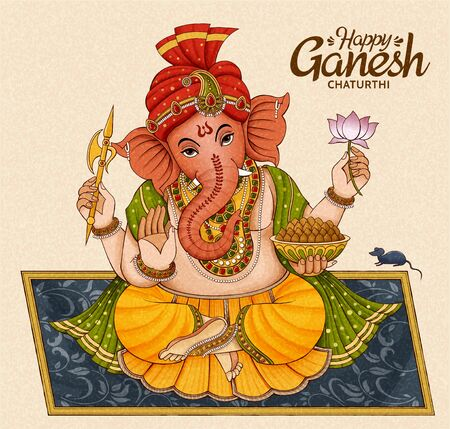 Happy Ganesh Chaturthi design with Ganesha sitting on floral blanket Stock Illustratie