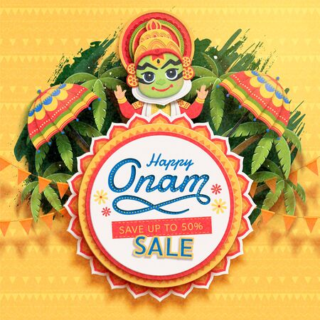Happy Onam festival sale design with cute Kathakali dancer on palm tree background in paper art