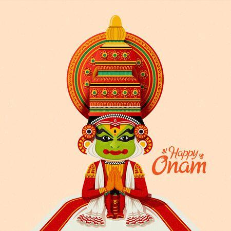 Happy Onam Kathakali dancer in traditional costume Archivio Fotografico - 128366322