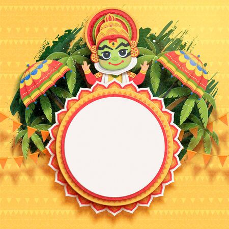 Happy Onam festival design with cute Kathakali dancer on palm tree background in paper art Illusztráció