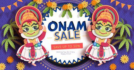 Happy Onam festival sale design with cute Kathakali dancer on purple background in paper art Illustration