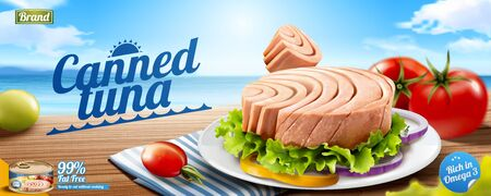Canned tuna banner ads with delicious dish on wooden and bokeh ocean background in 3d illustration