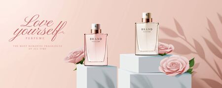 Elegant perfume banner ads with products and paper roses decorations on square podium in 3d illustration