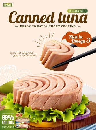 Canned tuna poster ads with delicious fish on chopping board in 3d illustration