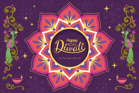 Happy Diwali festival with traditional pink rangoli pattern and suspicious peacock on purple background, flat style