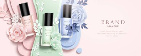Colorful nail lacquer with paper flowers decoration on pink background, top view 3d illustration ads