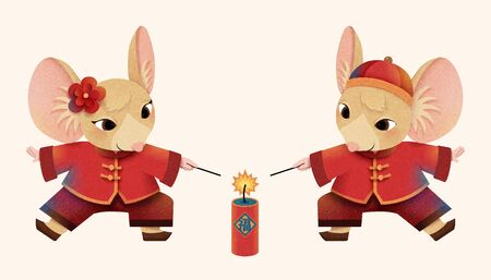 Cartoon mouse in folk costume lighting the firecrackers on white background