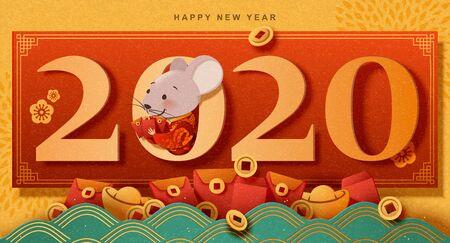 Frohes neues Jahr Papierkunst süße Maus mit roten Umschlägen, chromgelbem Hintergrund Vektorgrafik