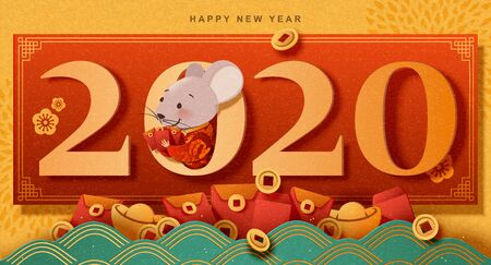 Happy new year paper art cute mouse holding red envelopes, chrome yellow background