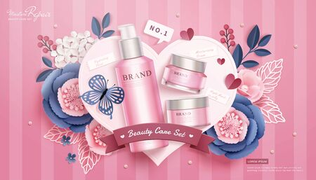 3d illustration pink cosmetic skincare set lying on paper heart with flowers and butterfly, flat lay stripe background Vectores