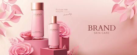 Anuncios de banner cosmético rosa con productos y rosas de papel en el podio en la ilustración 3d