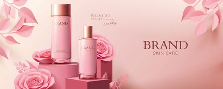 Pink cosmetic banner ads with product and paper roses on podium in 3d illustration Ilustração