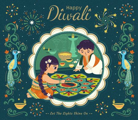 Lovely Diwali illustration with children drawing rangoli scene, suspicious peacock and vine decorative frames on dark green background Illustration