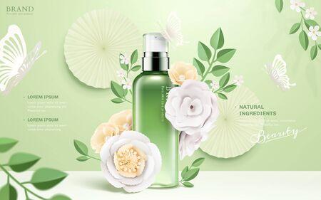 Anuncios de botellas de spray cosmético con flores de papel y mariposas sobre fondo verde en la ilustración 3d