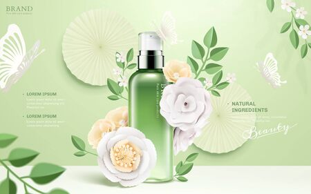 Cosmetic spray bottle ads with paper flowers and butterflies on green background in 3d illustration