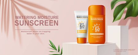 Summer sunscreen cream banner ads on square podium in 3d illustration