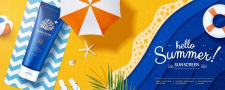Illustration 3d Écran solaire respectueux de l'océan posé sur la plage d'art en papier, jolies bannières de crème solaire