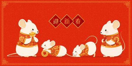 Felice anno nuovo con un simpatico topo bianco in costume popolare che tiene lingotto d'oro e monete, benvenuto alla stagione scritta in parole cinesi sul distico primaverile