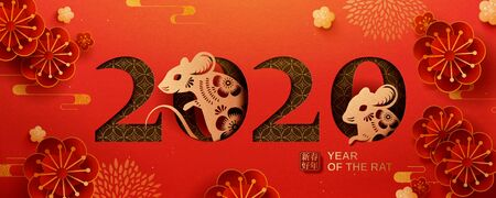 Happy year of the rat banner in paper art style on red background, happy lunar year written in Chinese words