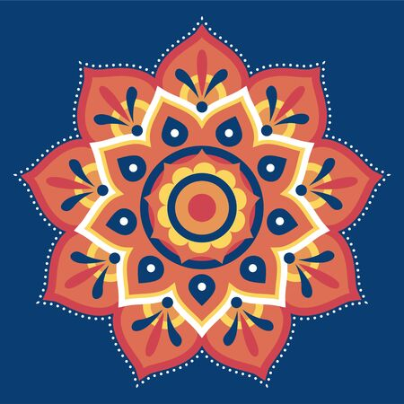 Flat rangoli pattern design in orange on blue background for diwali festival