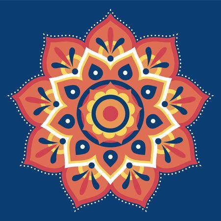 Flat rangoli pattern design in orange on blue background for diwali festival