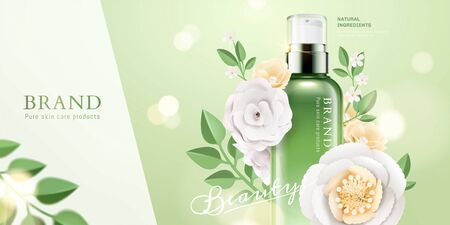 Cosmetic spray bottle ads with paper flowers and butterflies on green glitter background in 3d illustration Ilustração