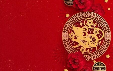 Jaar van de muis met papieren kunstmuizen en bloemdecoratie op rode achtergrond, kopieer ruimte voor belettering van ontwerp