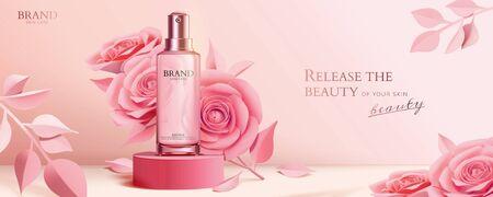 Flacone spray su podio rotondo con eleganti rose di carta in rosa, annunci cosmetici con illustrazione 3d