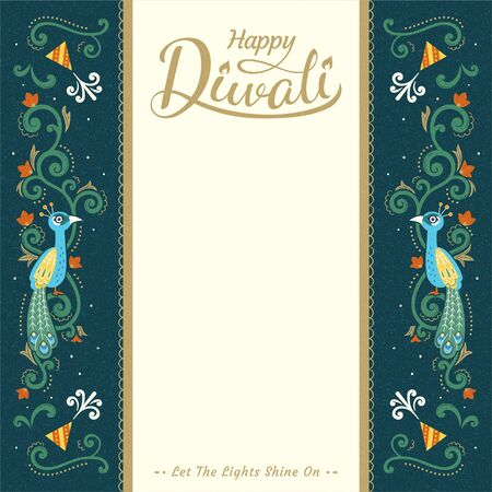 Happy Diwali festival card design with copy space and suspicious peacock decoration in flat style