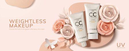 Annonce de tubes de crème CC à plat avec roses en papier et papillon en illustration 3d Vecteurs