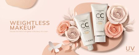 Flat lay CC cream tubes ad with paper roses and butterfly in 3d illustration Illustration